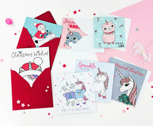 Unicorn Christmas Cards Pack of 7 Handmade