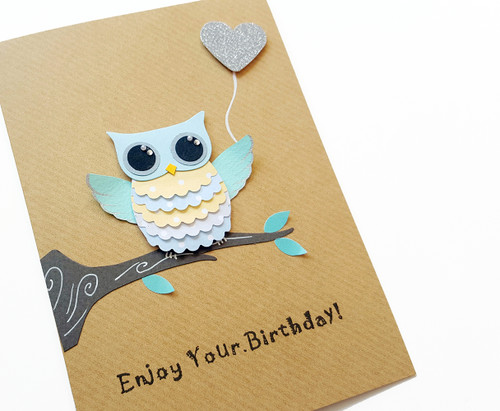 Owl Birthday Card Handmade
