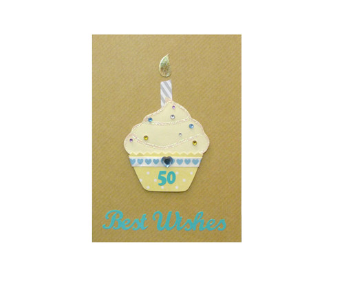 Yellow Cupcake Handmade 50th Birthday Card