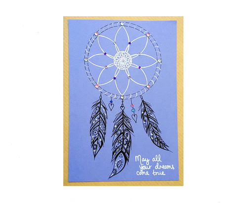 Hand drawn dream catcher birthday card