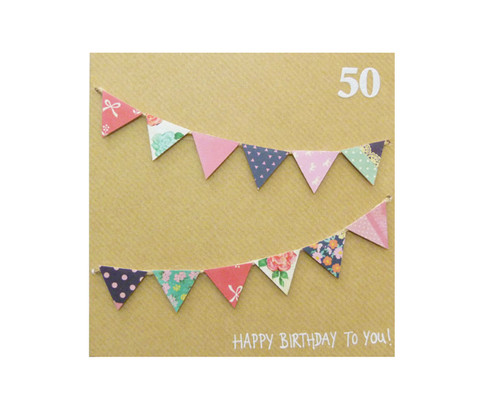 Handmade 50th Birthday Bunting Card