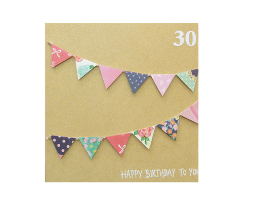 Handmade 30th Birthday Bunting Card