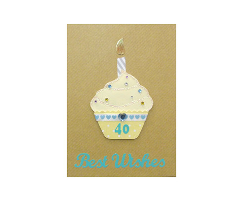 Yellow Cupcake Handmade 40th Birthday Card