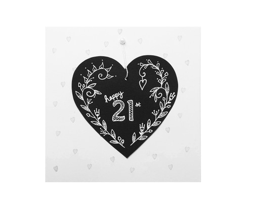 Handmade 21st Birthday Card chalkboard heart
