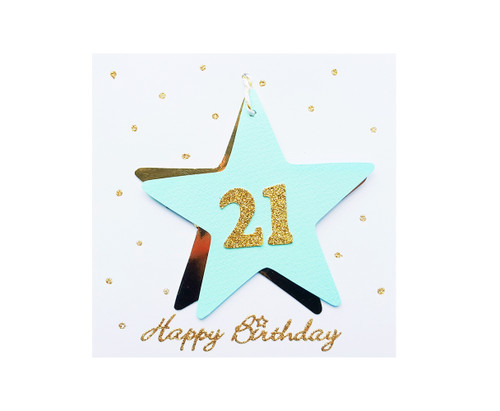 Handmade 21st Birthday Star Card