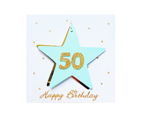 Handmade 50th Birthday Star Card