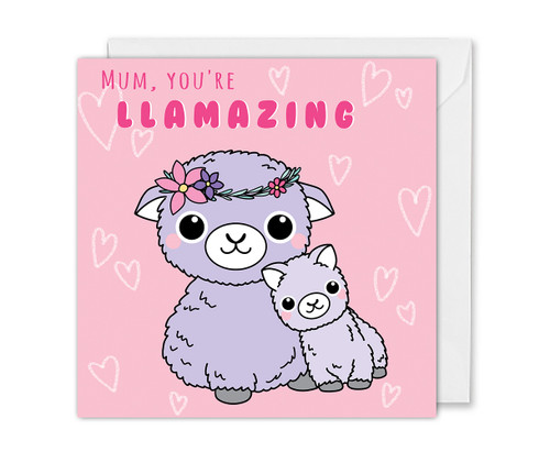 Amazing Mum Card Cute LLamas