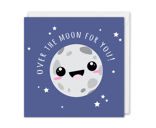Over The Moon For You Congrats Card