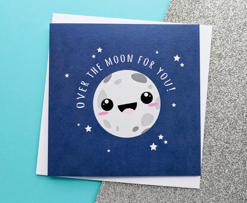 Over The Moon Card Congratulations