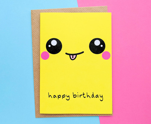 Kawaii Face Birthday Card Cheeky Expression