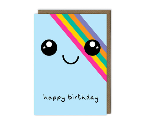 Smiley Face Birthday Card Rainbow