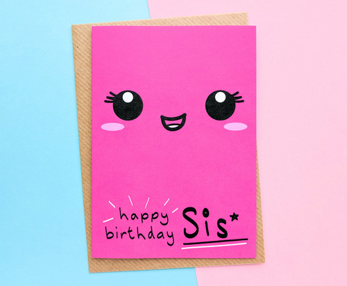 Sister Birthday Card Kawaii Face