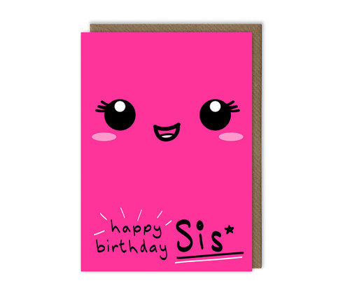 Sister Birthday Card Smiley Face