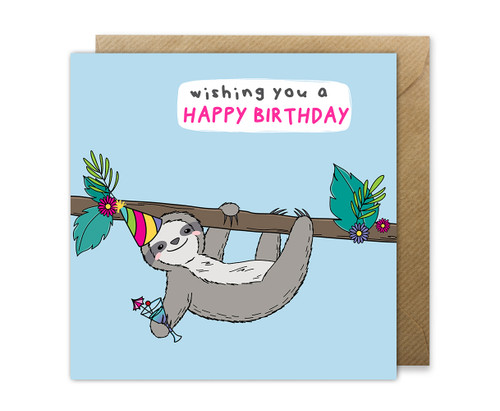 Cute Sloth Birthday Card