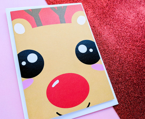 Rudolph Red Nose Reindeer Card Kawaii