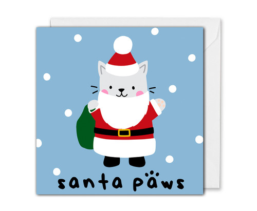 Santa Cat Christmas Card Funny