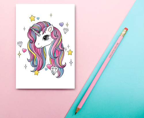 Rainbow Unicorn Stationery Set - A6 Notebook, 2B Pencil  - Eco-friendly