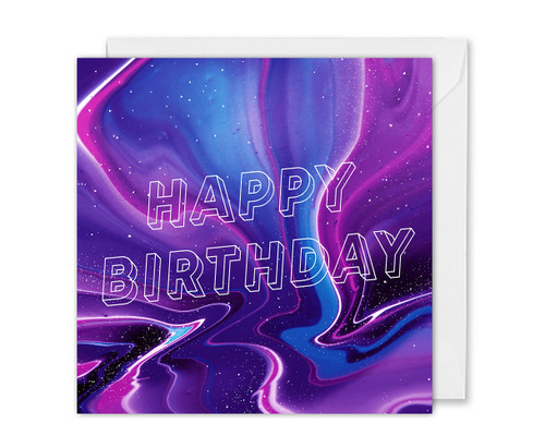Galaxy Marble Happy Birthday Card