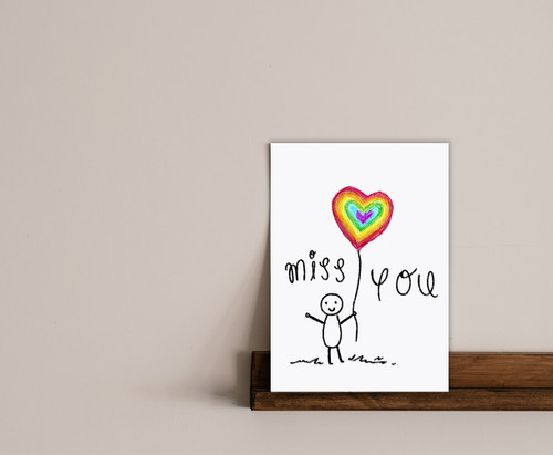 Childrens Rainbow Drawing Miss You Card