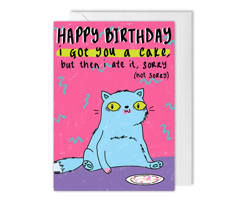 Funny Cat Birthday Card Ate Your Cake