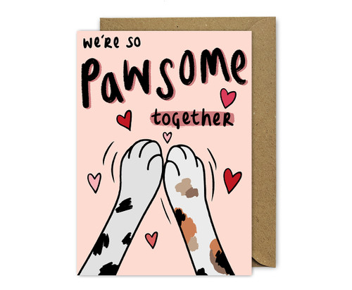 Punny Love Card Cat Paws