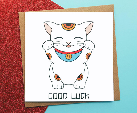 Lucky Cat Card Good Luck