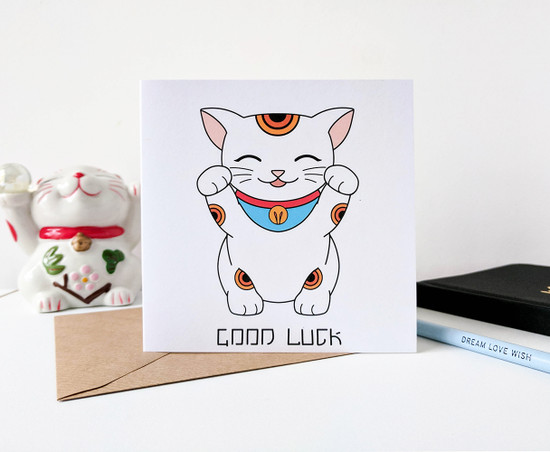 good luck cat card handmade maneki neko