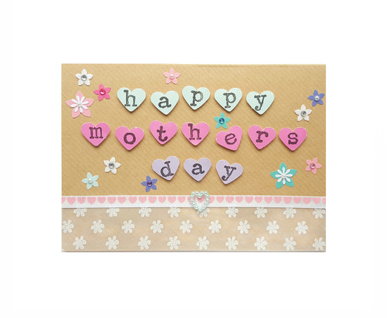 Handmade Mothers Day Card - hearts and flowers
