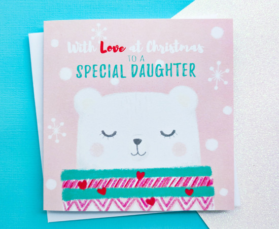 Daughter Christmas Card Cute Polar Bear