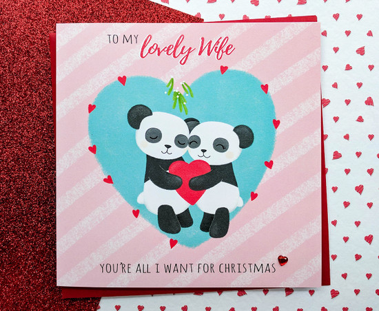 Wife Christmas Card Cute Pandas