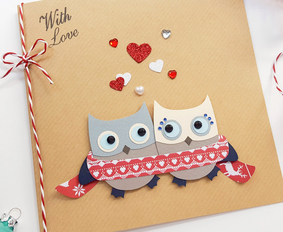 owls handmade christmas card