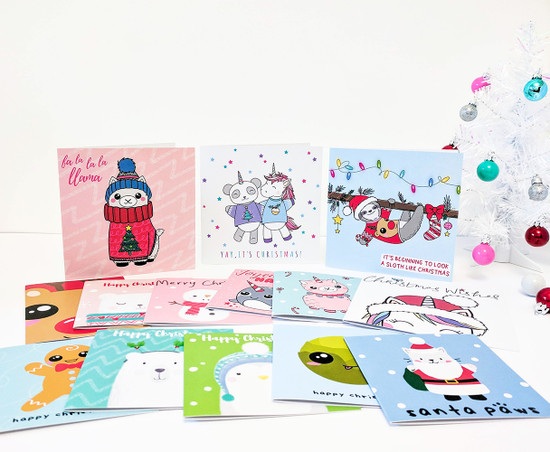 Multipack of 14 Cute Christmas Cards