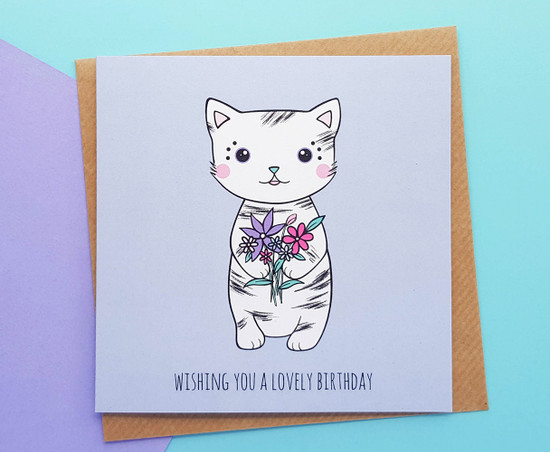 hand drawn cute cat birthday card