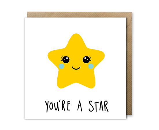 Kawaii Star Birthday Card
