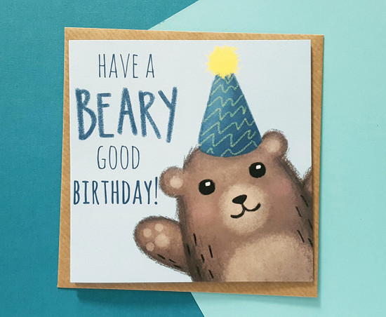 Punny Birthday Card Bear