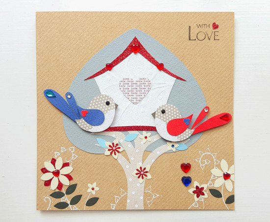 Personalised Heart Tree Bird House Anniversary Card