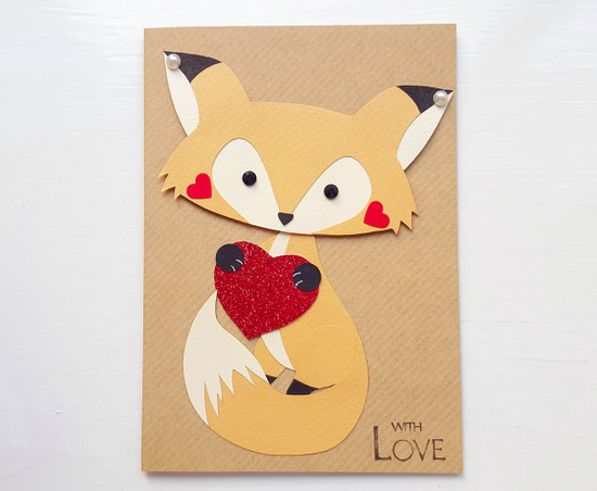 JASON Love Heart Fox Valentines Card