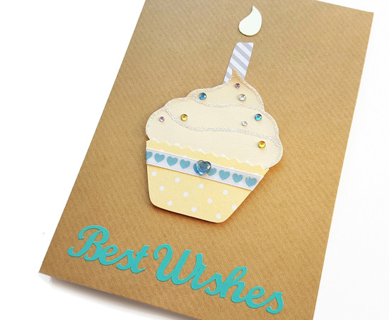 Handmade Birthday Card Yellow Cupcake