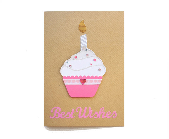 Handmade Birthday Card Pink Cupcake