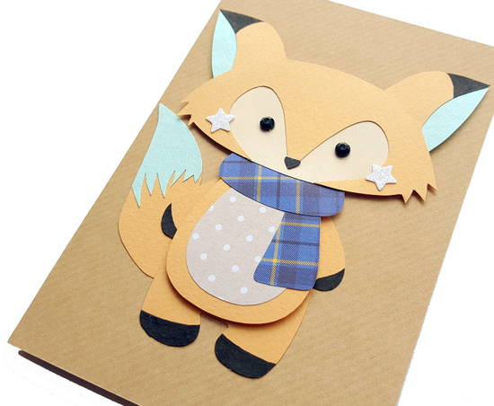 Personalised Birthday Card Handmade Fox