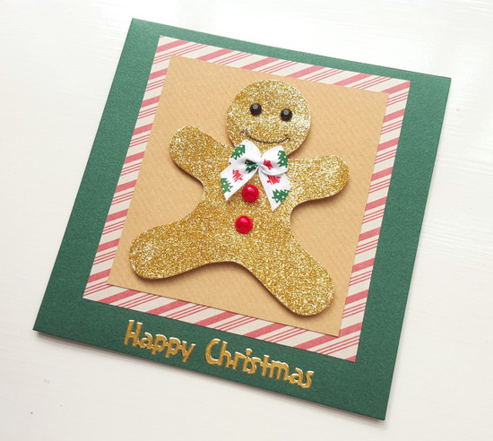 handmade Christmas card glitter gingerbread man