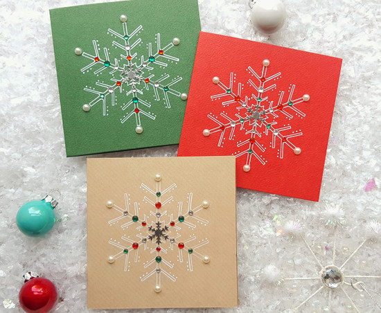 Pack Of 3 Handmade Snowflake Christmas Cards Kio Cards
