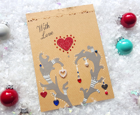 handmade deer christmas card