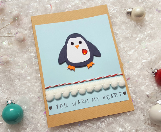 Cute penguin romantic Christmas card