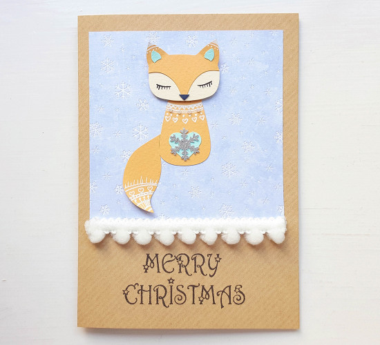 handmade fox christmas card