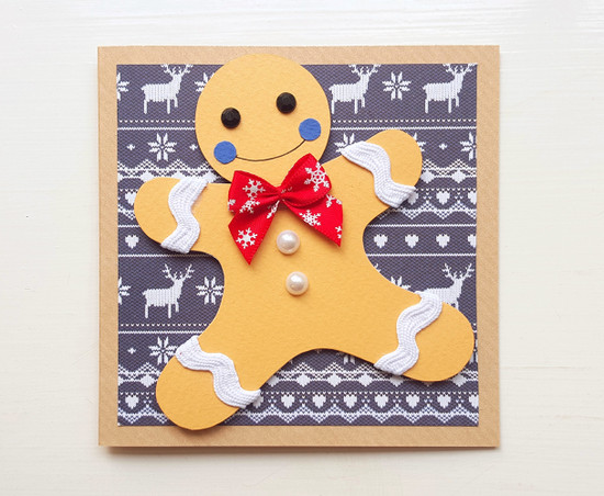 handmade christmas card gingerbread man