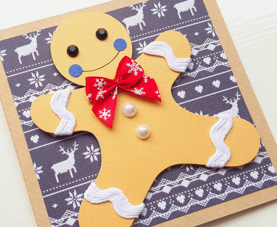 handmade card christmas gingerbread man