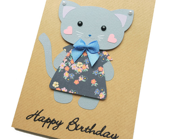 Kitty Cat Handmade Birthday Card