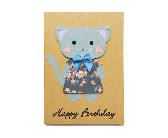 Handmade Cat Birthday Card