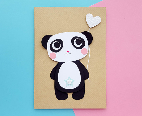 Handmade panda birthday card makuko